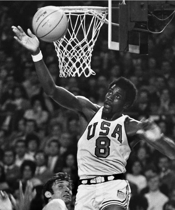 Spencer Haywood blocking a shot at the Olympics