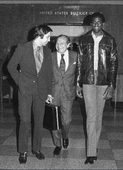 Spencer Haywood with his lawyers at the Supreme court