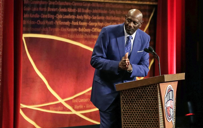 Spencer Haywood showing his gratitude during his Hall of Fame speech